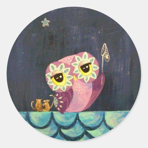 Owl Art - Catch A Falling Star Sticker
