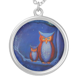 Owl Art Necklace - The Forest At Night