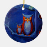 """Owl Art Ornament - """"The Forest At Night'"""