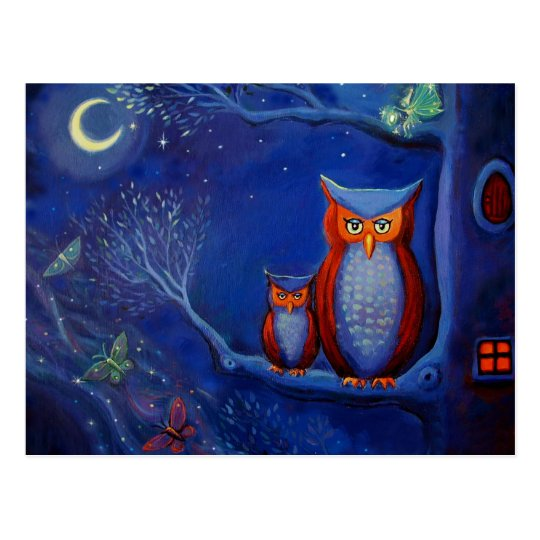 "Owl Art Postcard - ""The Forest At Night"""