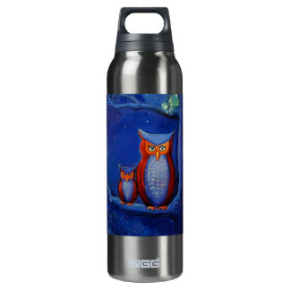 """Owl Art - """"The Forest At Night"""" 16 Oz Insulated SIGG Thermos Water Bottle"""