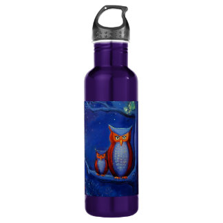 """Owl Art - """"The Forest At Night"""" 24oz Water Bottle"""