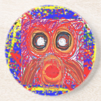 OWL Artistic Bird Prey Colorful Red GIFTS Greeting Coasters