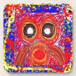 OWL Artistic Bird Prey Colorful Red GIFTS Greeting Coaster