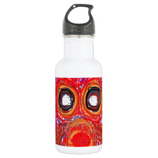 OWL Artistic Bird Prey Colorful Red Greeting Water Bottle