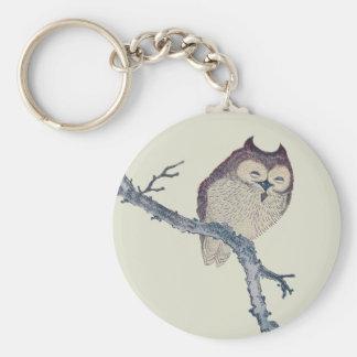 Owl Asian Art Print Keychain
