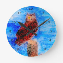 Owl at Night Bird Art Round Clock