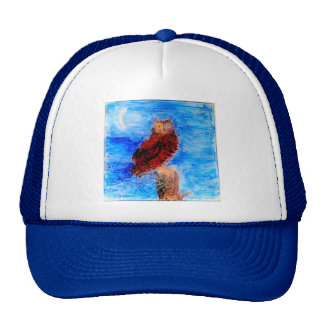 Owl at Night Bird Art Trucker Hat