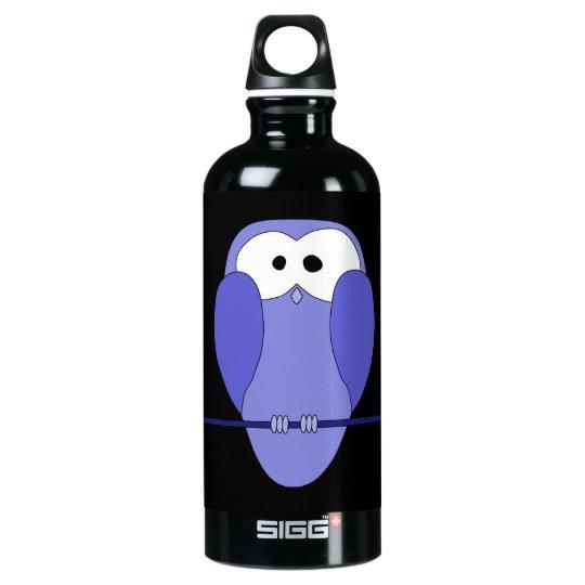 Owl at Night. Blue, black. Aluminum Water Bottle