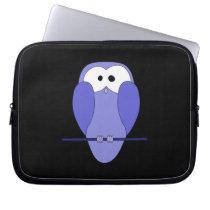 Owl at Night. Blue, black. Computer Sleeve