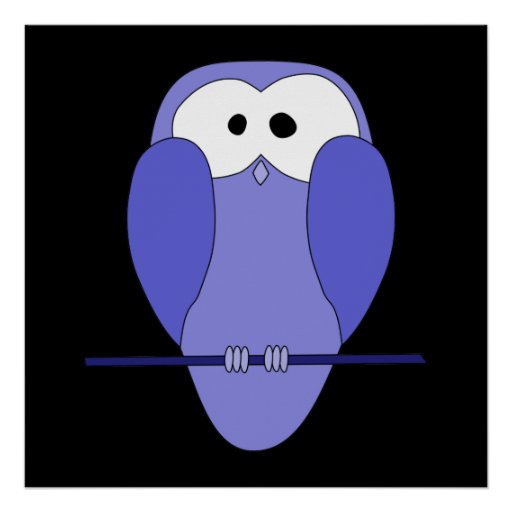 Owl at Night. Blue, black. Poster
