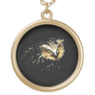 Owl at Night Gold Plated Necklace