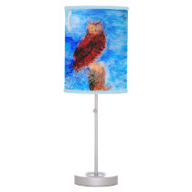 Owl at Night in Moonlight Table Lamp