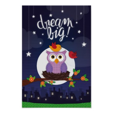 Art Themed Owl at Night Poster