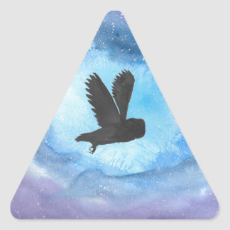 Owl At Night Triangle Sticker