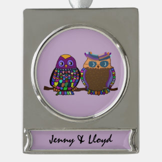 Owl Attraction Silver Plated Banner Ornament