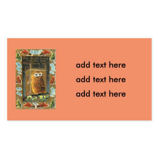 Owl Auld Lang Syne Flying Witch Halloween Business Card