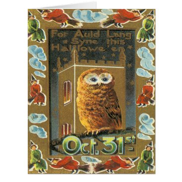 Halloween Themed Owl Auld Lang Syne Flying Witch Halloween Card