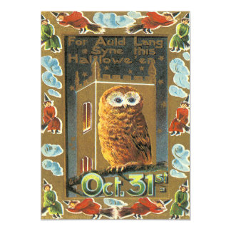 Owl Auld Lang Syne Flying Witch Halloween Card