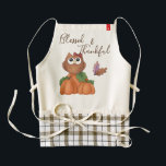 "Owl Autumn Fall Harvest Pumpkin Patch Decorative Zazzle HEART Apron<br><div class=""desc"">Owl autumn fall harvest pumpkin patch kitchen apron. &quot;Blessed &amp; Thankful&quot;. Change the color background and personalize if desired. Just click on the &quot;Customize&quot; button. Add other matching kitchen,  bedroom,  bathroom,  and home decor. Copyright &#169; Trina Clark</div>"