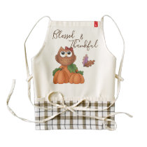 Owl Autumn Fall Harvest Pumpkin Patch Decorative Zazzle HEART Apron