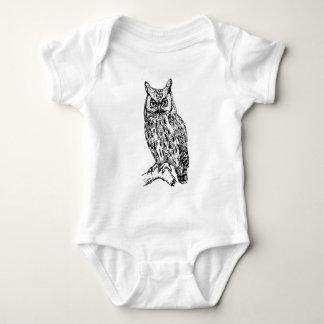 owl b/w collection baby bodysuit