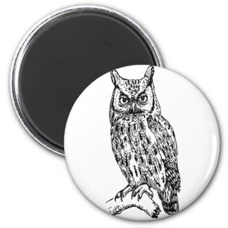 owl b/w collection refrigerator magnet