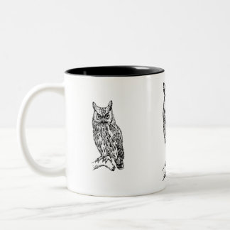 owl b/w collection Two-Tone coffee mug
