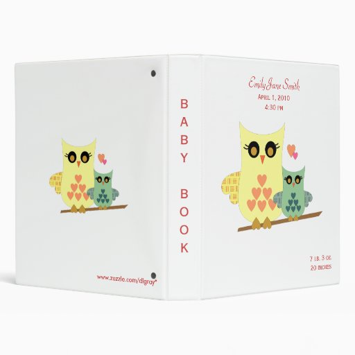 Owl Baby Binder for Girls or Boys