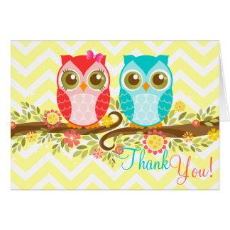 Owl Baby Boy and Girl Twins Custom Thank You Card
