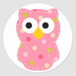 Owl - Baby Girl Classic Round Sticker