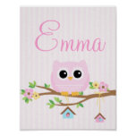 Owl Baby Girl personalized poster