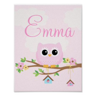 Owl Baby Girl pink personalized poster