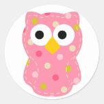 Owl - Baby Girl Round Sticker