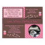 "Owl Baby Girl Shower Invitations 4.25"" X 5.5"" Invitation Card"