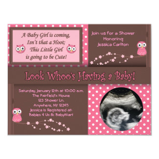 Good Owl Baby Girl Shower Invitations