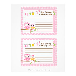 Owl Baby Shower Advice card for the mom-to-be Letterhead