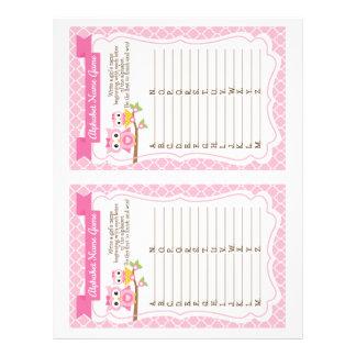 Owl Baby Shower Alphabet Name Game Letterhead