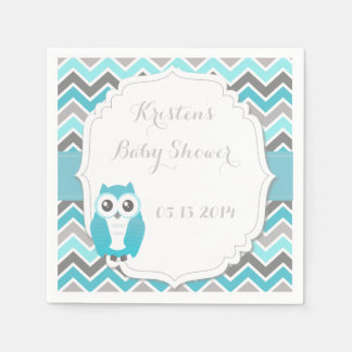 Owl Baby Shower Blue Chevron Napkin