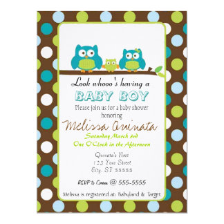 Owl Baby Shower BOY Invites
