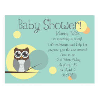 Owl Baby Shower - Boy Postcard Invitations