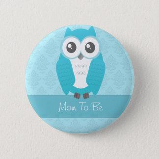 Owl Baby Shower Button Blue
