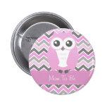 Owl Baby Shower Button Chevron Pink