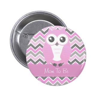 Owl Baby Shower Button Chevron Pink