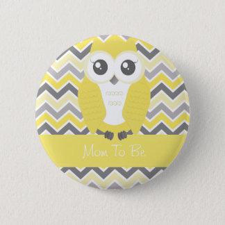 Owl Baby Shower Button Chevron Yellow