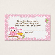 Owl Baby Shower Diaper Raffle Ticket at Zazzle