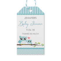 Owl Baby Shower Favor Tag | Blue Chevron Hang Tag