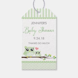 Owl Baby Shower Favor Tag   Green Chevron Hang Tag