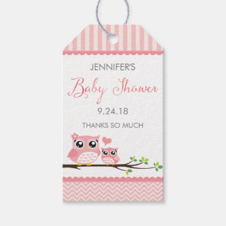 Owl Baby Shower Favor Tag | Pink Chevron Hang Tag Pack Of Gift Tags