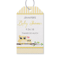 Owl Baby Shower Favor Tag Yellow Chevron Hang Tag